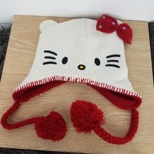 Hello Kitty | Knit Cap White Red Hanging Poms Bow